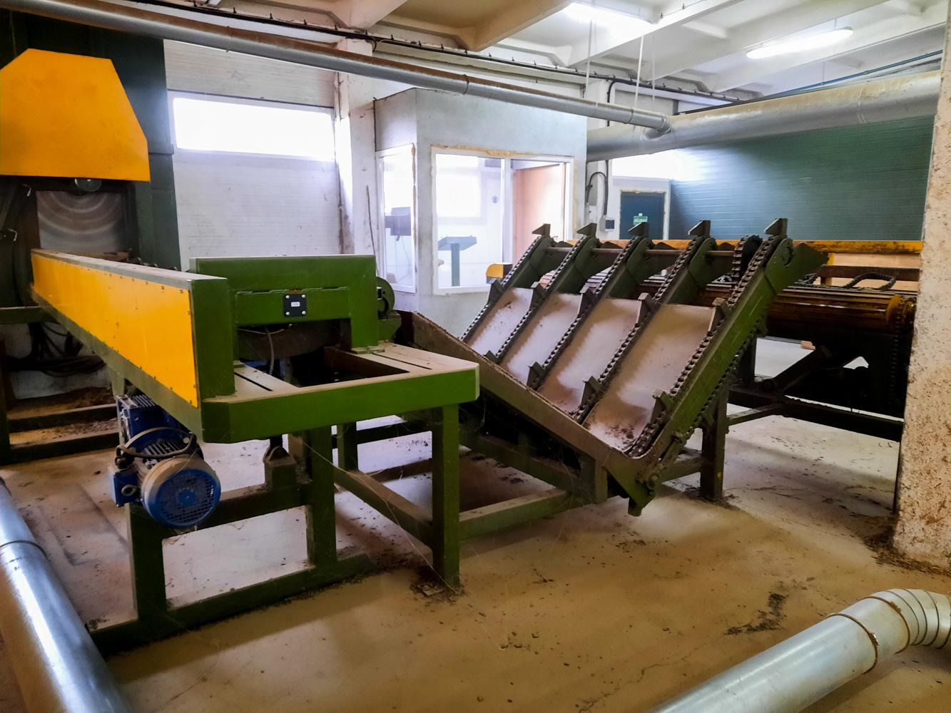 Rąstų kaupiklis ir pavartymo stalas/ Logs infeed and positioning conveyor